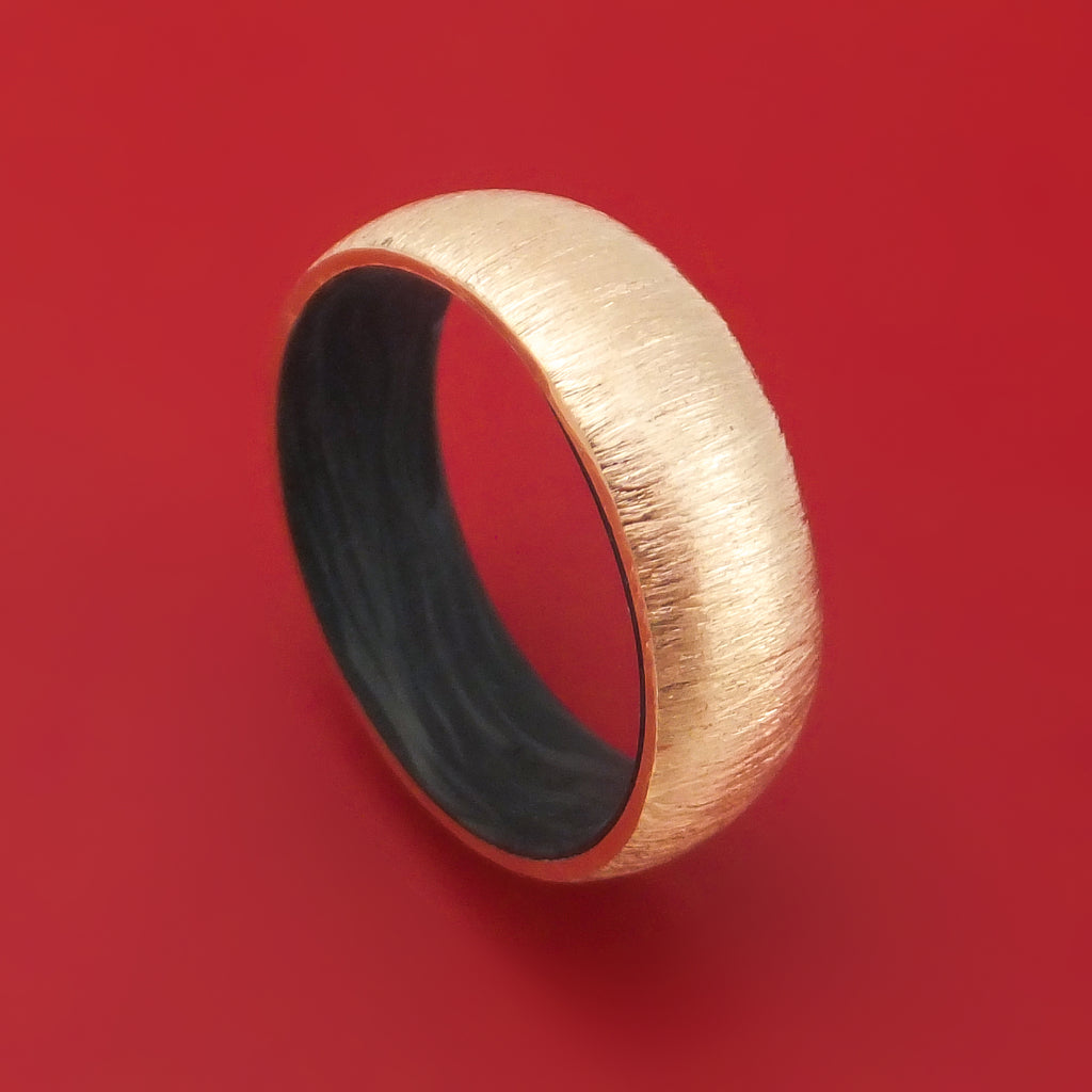 14K Gold Ring with Forged Carbon Fiber Sleeve Custom Made Band