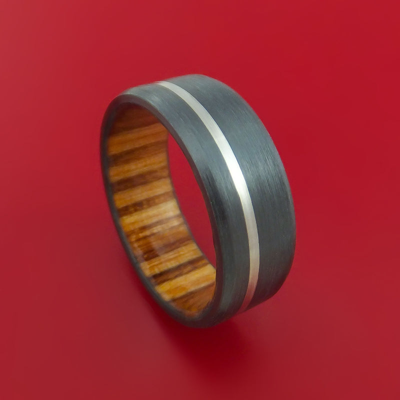 Black Zirconium Ring with Platinum Inlay and Interior Hardwood Sleeve Custom Made Band