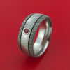 Damascus Steel Ring with Groove Inlay and Ruby Custom Made Band