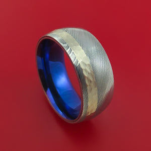 Damascus Steel 14K White Gold Ring Wedding Band with Anodized Titanium Sleeve Custom Made Hammer Finish