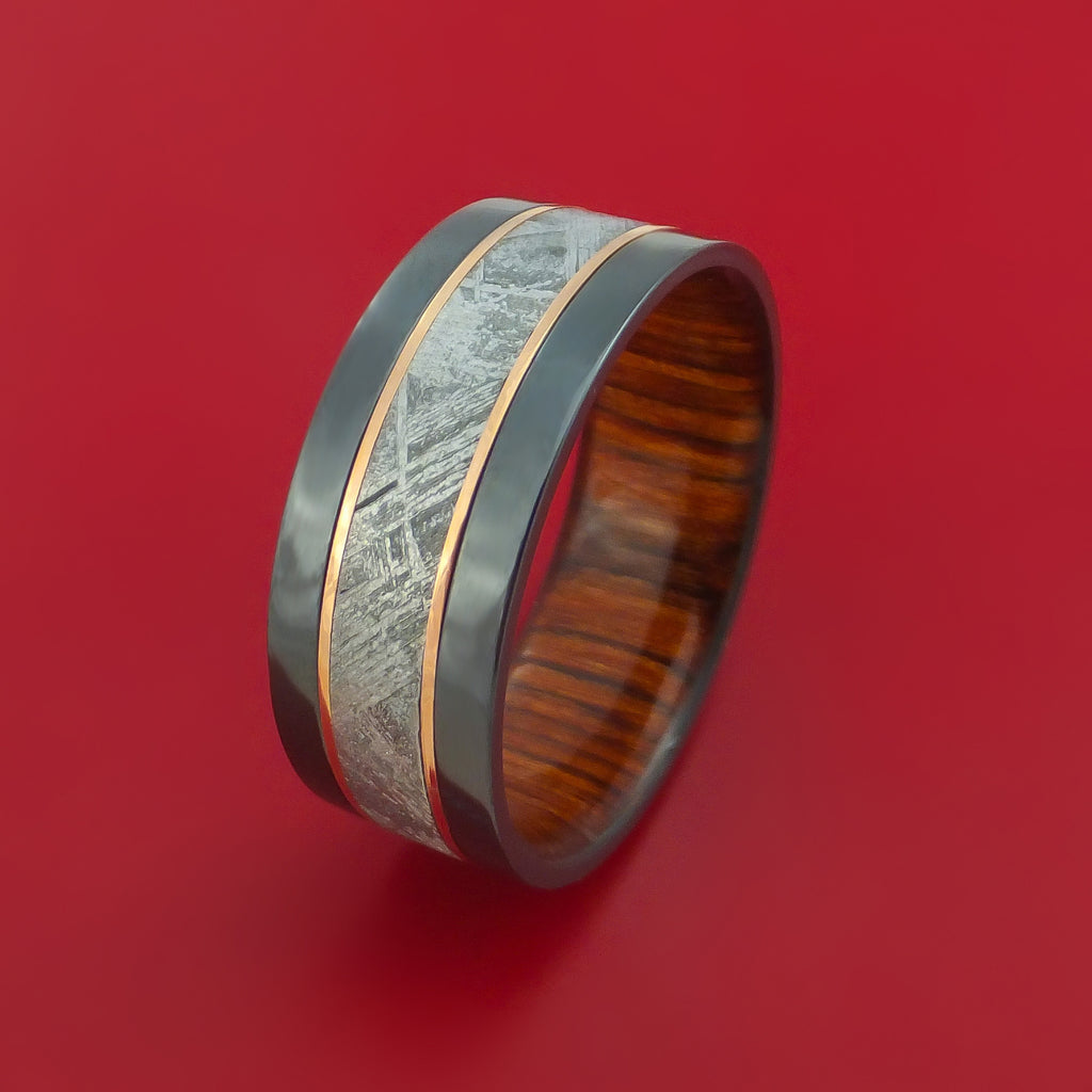 Black Zirconium and Gibeon Meteorite Ring with 14K Rose Gold Inlays and Wood Sleeve Custom Made Band