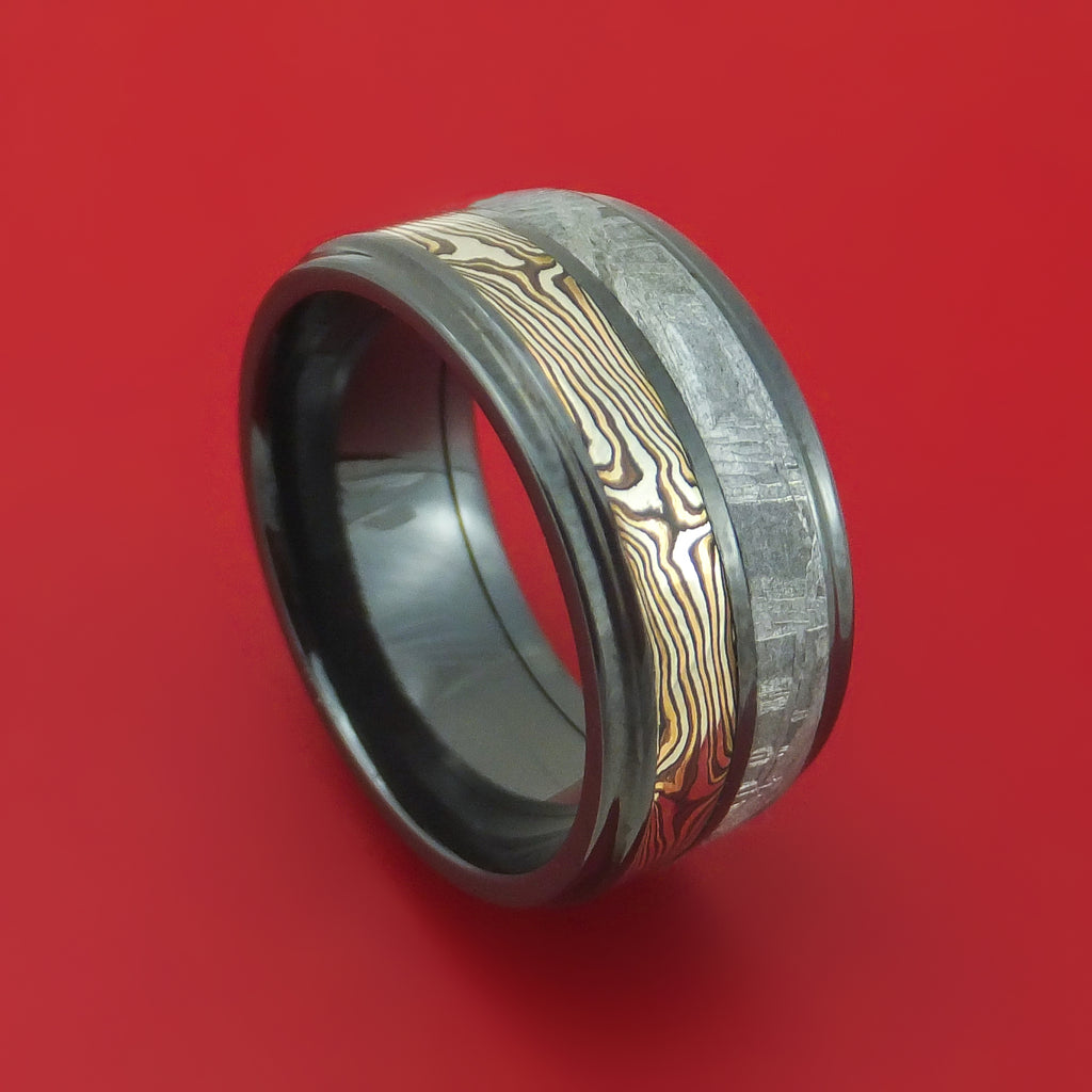 Black Zirconium Ring with Mokume Gane and Gibeon Meteorite