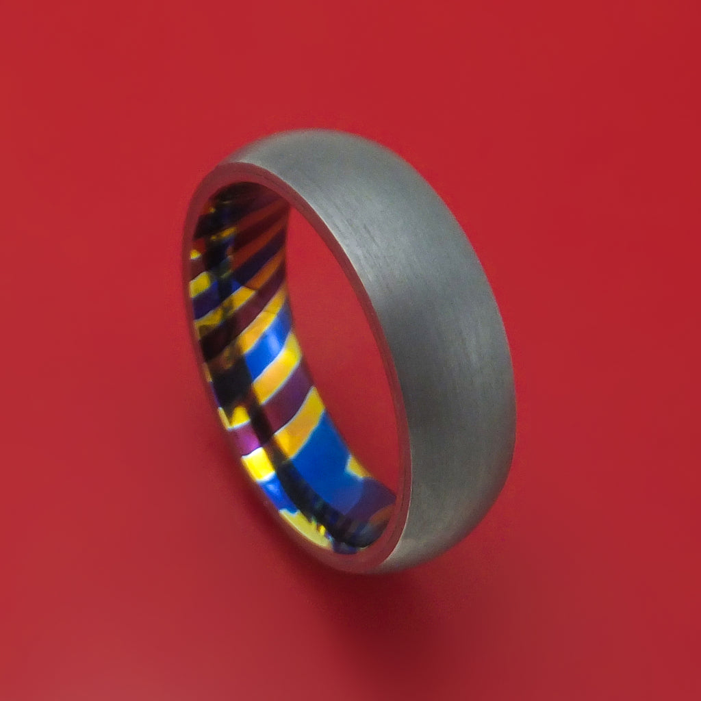 Tantalum Ring with Timascus Sleeve Custom Made