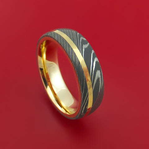 Damascus Steel 14K Yellow Gold Ring Wedding Band Custom Made