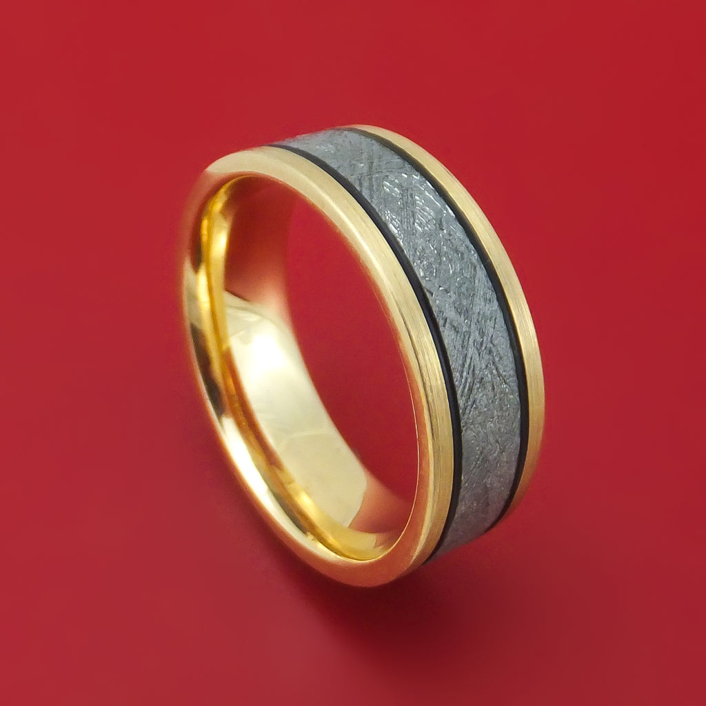 14K Gold and Meteorite Ring Custom Made