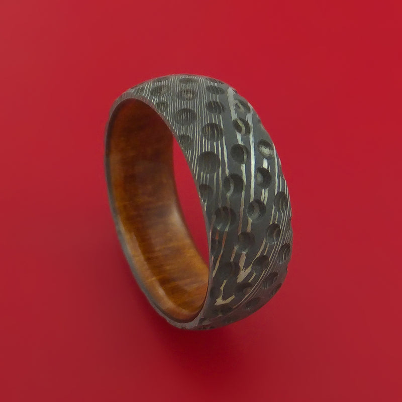 Damascus Steel Ring with Milled Golf Ball Dimple Inlay and Interior Hardwood Sleeve Custom Made Band