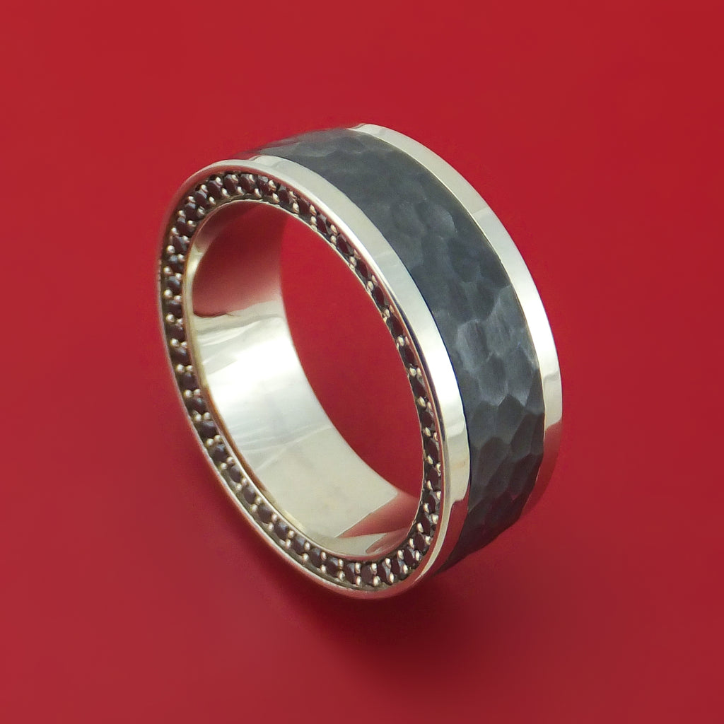 14K Gold and Zirconium Ring with Double Eternity Black Diamonds