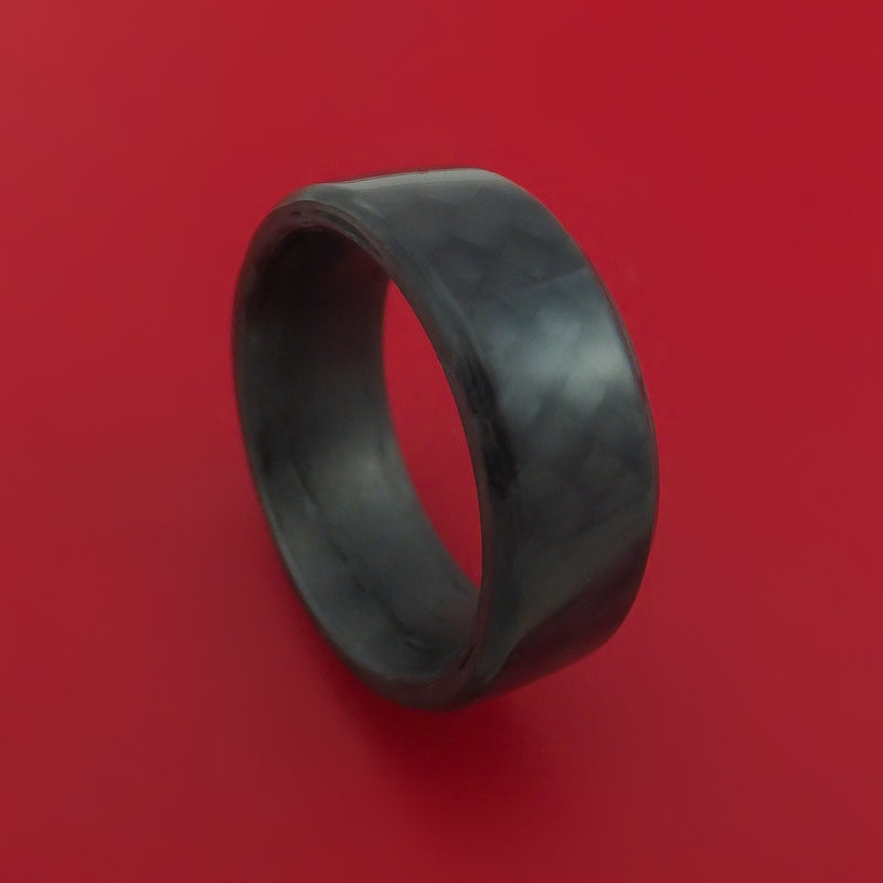 Solid Carbon Fiber Ring Custom Made Angled Pattern Band