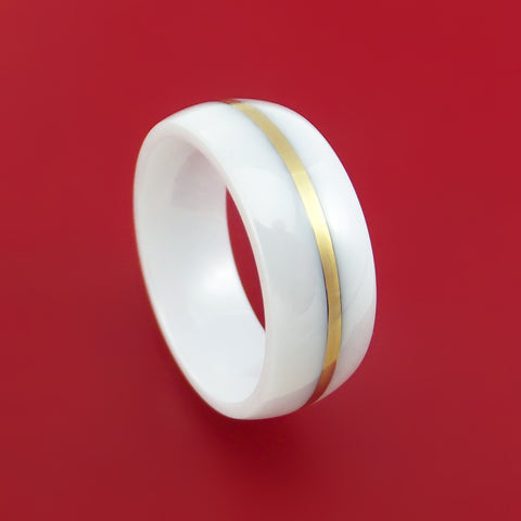 White Ceramic Ring with 14k Yellow Gold Custom Made Band