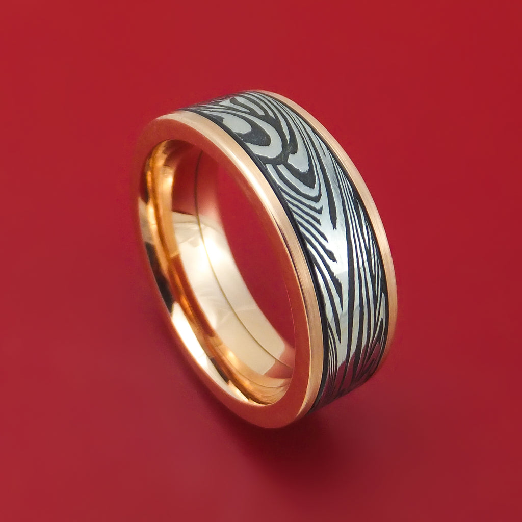 14K Gold and Sunset Kuro Damascus Steel Ring Custom Made