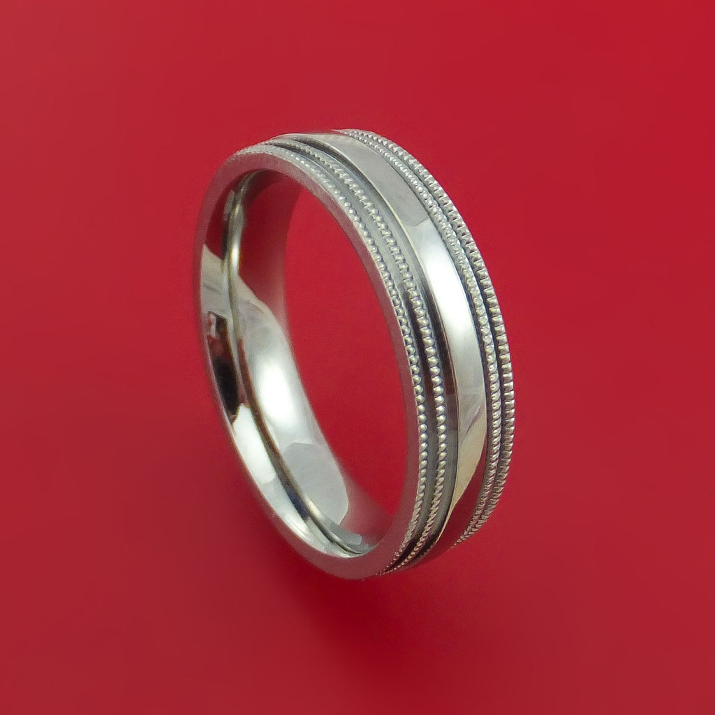 Titanium Millgrain Band Custom Ring Made to Any Sizing and Finish 3-22