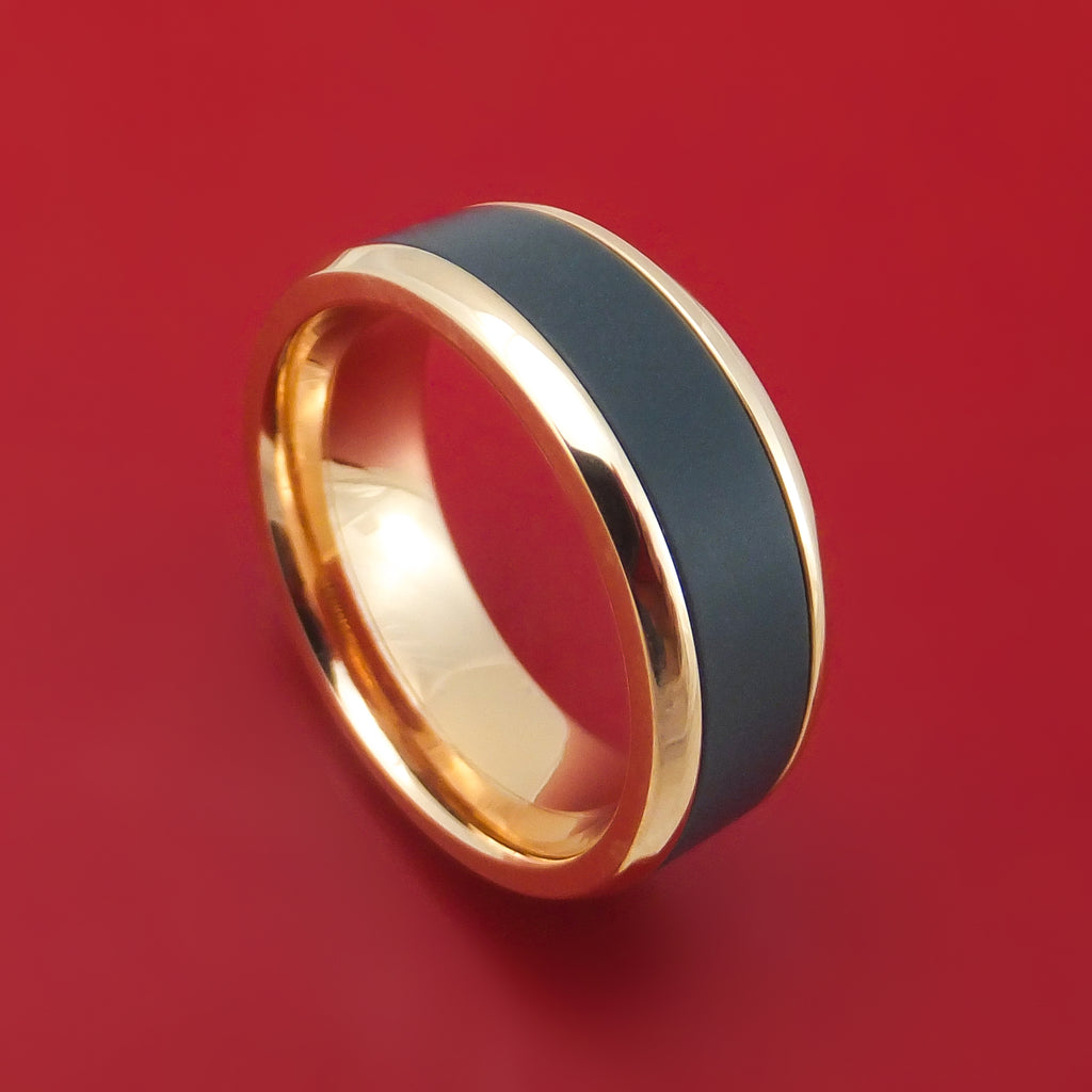 14K Gold and Black Zirconium Ring