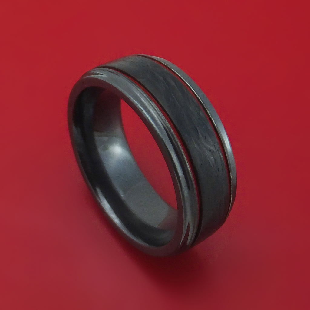Black Zirconium and Forged Carbon Fiber Ring with Cerakote Accents