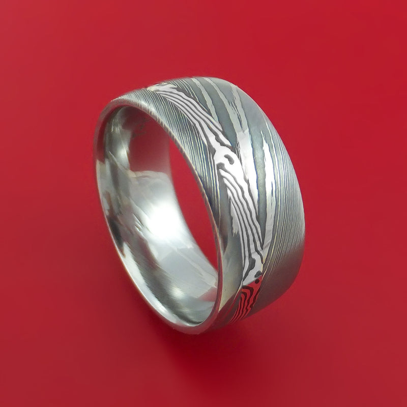 Damascus Steel Ring with Silver Mokume Shakudo Inlay Custom Made