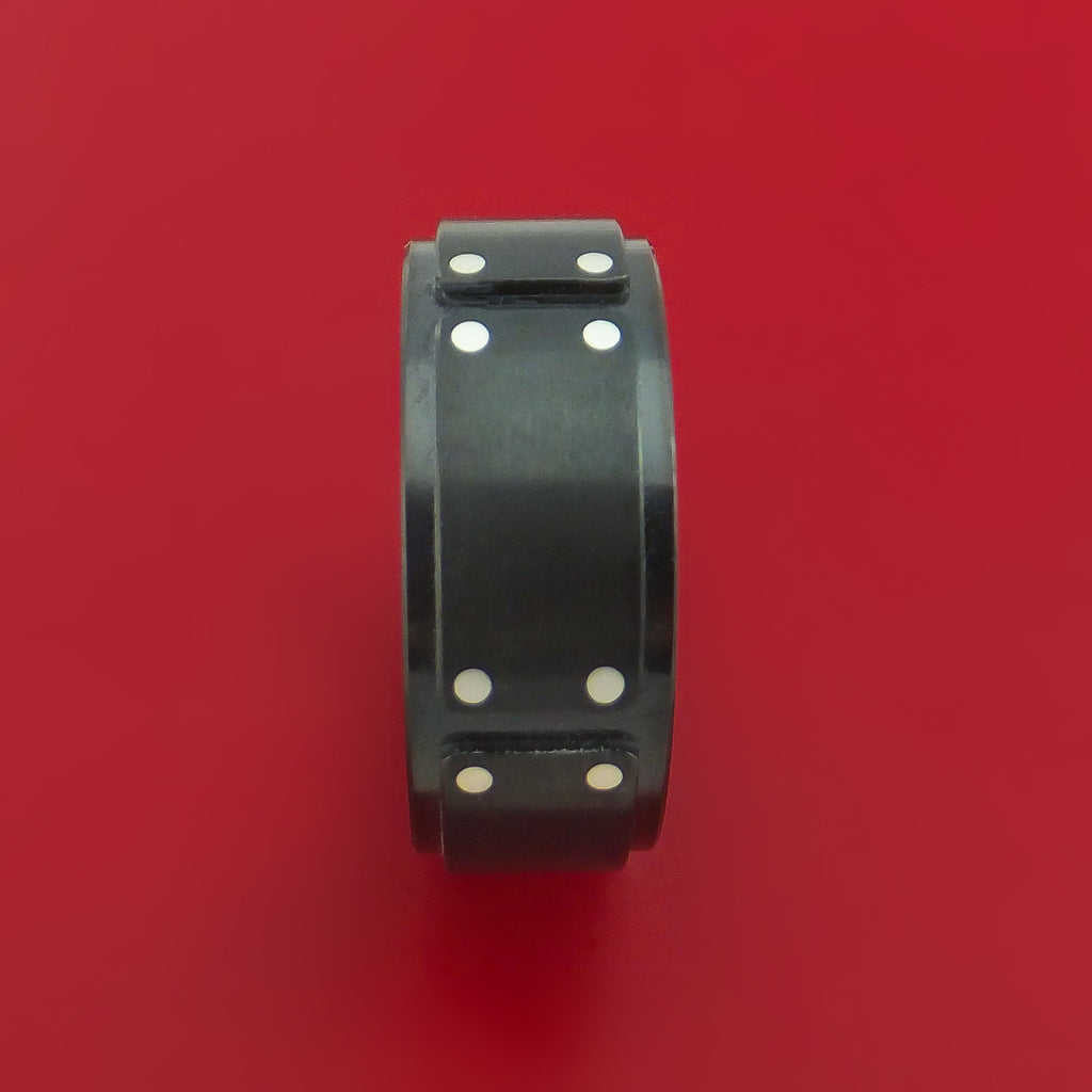 Black Zirconium and Silver Ring Custom Made Band