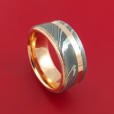 Damascus Steel 14K Rose Gold Ring Wedding Band with Gold Inlay