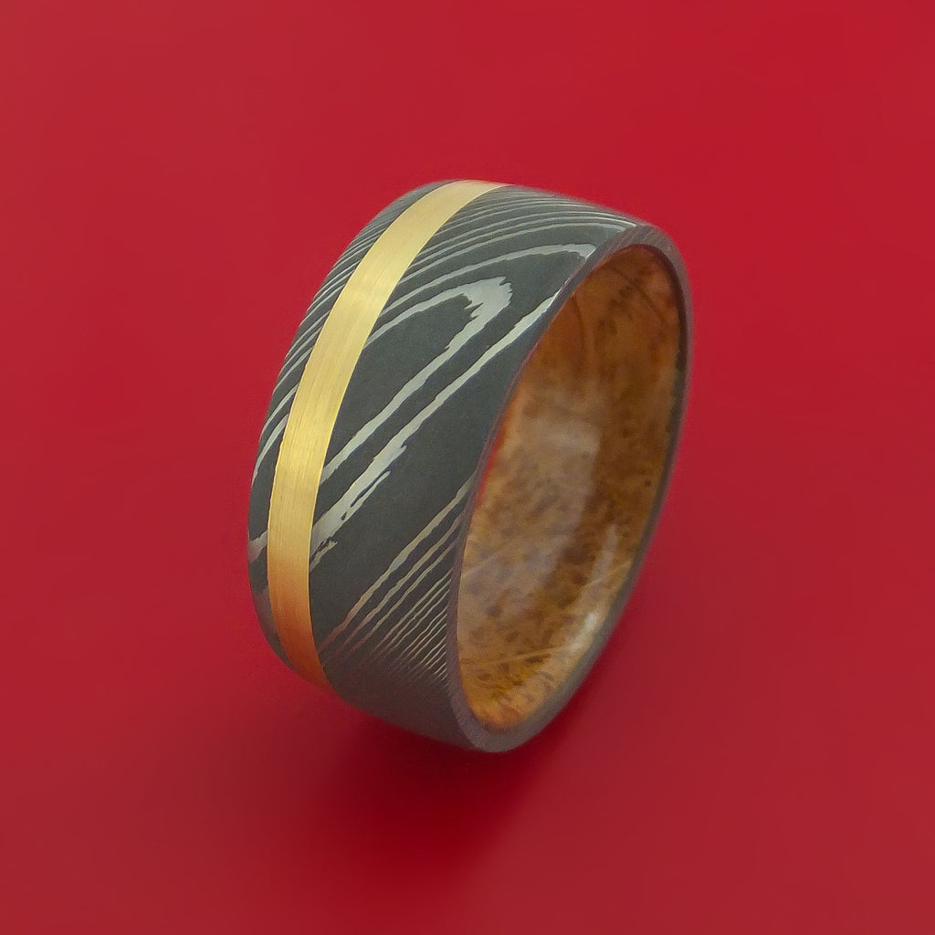 Damascus Steel Band with 14k Yellow Gold and Jack Daniels Whiskey Barrel Wood Sleeve Custom Made
