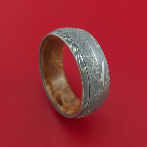 Damascus Steel and Gibeon Meteorite Band with Maple Burl Wood Hardwood Sleeve Custom Made Band