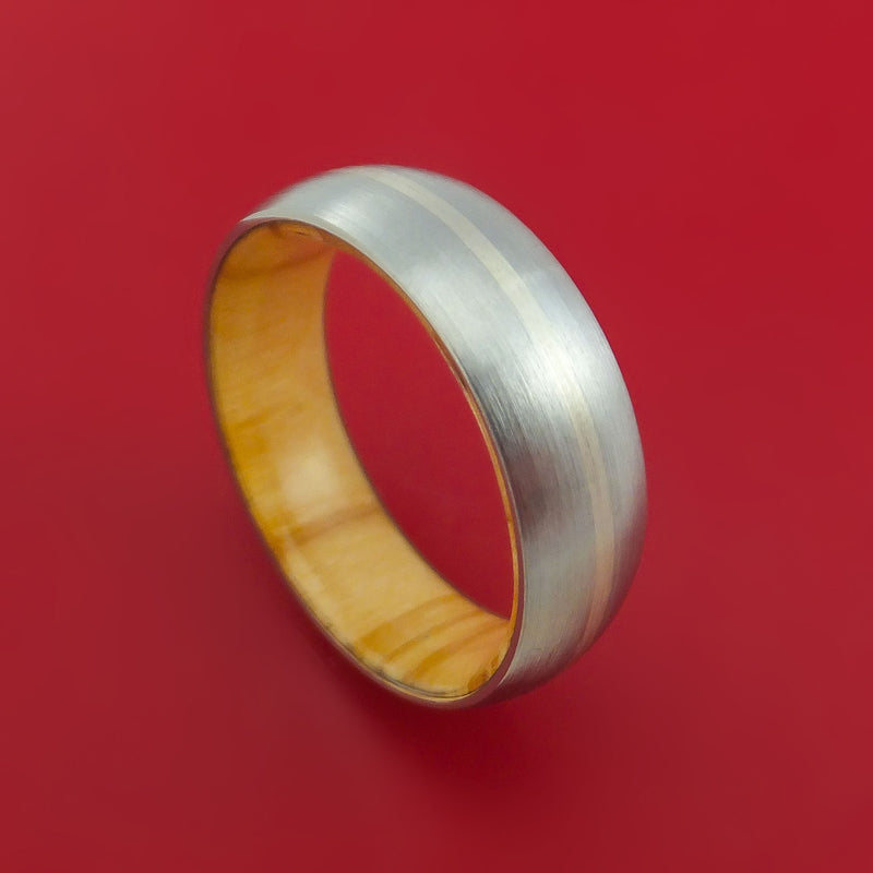 Titanium Ring with 14K White Gold Inlay and Interior Hardwood Sleeve Custom Made Band