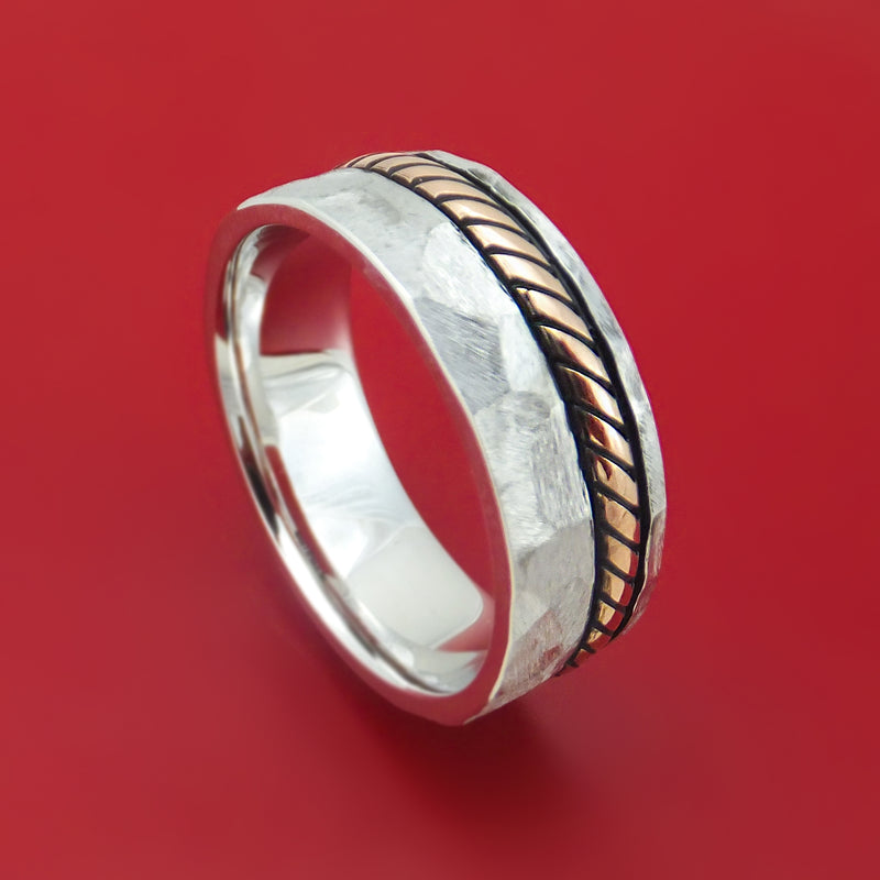 14K White Gold Rock Hammered Ring with 14K Gold Braided Rope Inlay