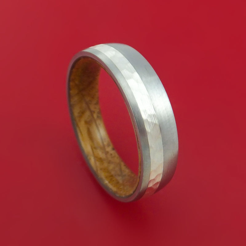 Titanium Ring with Sterling Silver Inlay and Interior Hardwood Sleeve Custom Made Band