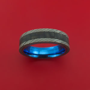 Damascus Steel Ring with Black Carbon Fiber Inlay and Interior Anodized Titanium Sleeve Custom Made Band