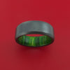 Black Zirconium and Jade Wood Hard Wood Sleeve Ring Custom Made