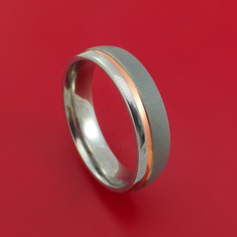Titanium Ring with Recessed Copper Inlay Custom Made Band