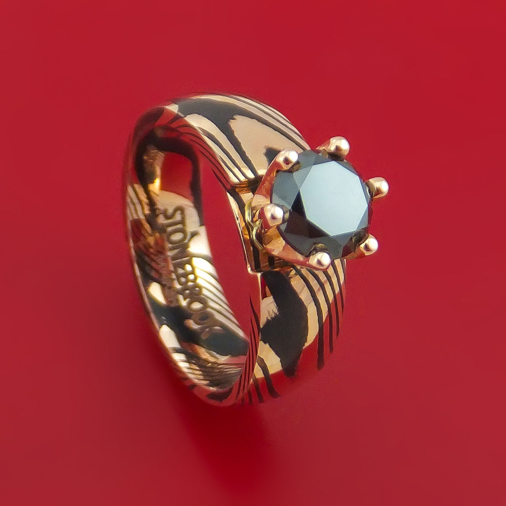 Mokume Shakudo Ring with Black Diamond Custom Made Band