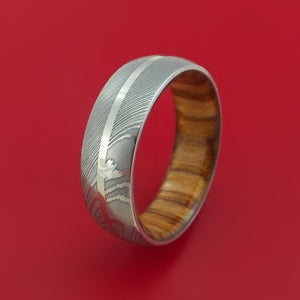 Damascus Steel Ring with Palladium Inlay and Interior Hardwood Sleeve Custom Made Band