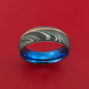 Damascus Steel Ring with Copper Inlay and Interior Anodized Titanium Sleeve Custom Made Band