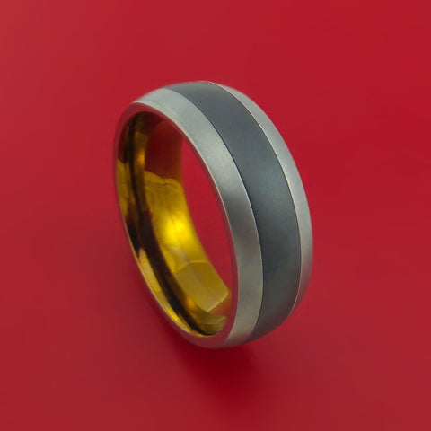 Titanium and Black Zirconium Inlay and Bronze Anodized Inside Custom Ring Made to Any Sizing and Finish