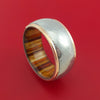 Wide Damascus Steel Ring with 14k Rose Gold Edges and Interior Hardwood Sleeve Custom Made Band