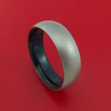 Titanium Ring with Blueberry Hardwood Sleeve Custom Made Band