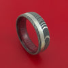 Damascus Steel Ring with Platinum Inlay and Interior Hardwood Sleeve Custom Made Band