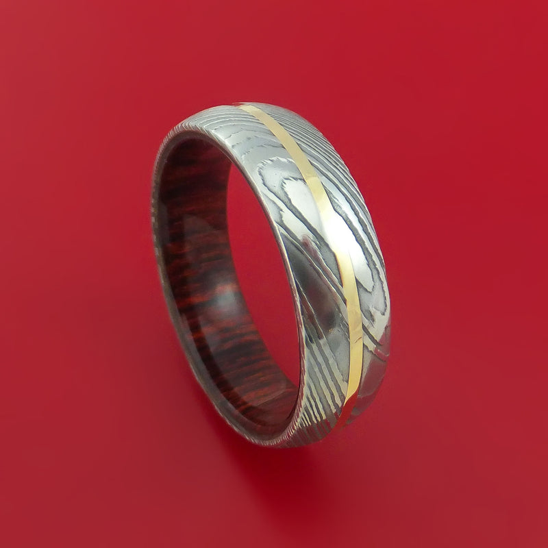 Damascus Steel Ring with 14k Yellow Gold Inlay and Interior Hardwood Sleeve Custom Made Band