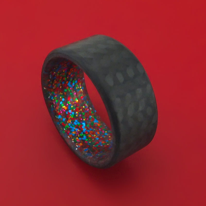 Carbon Fiber And Sparkle Sleeve Ring Custom Made