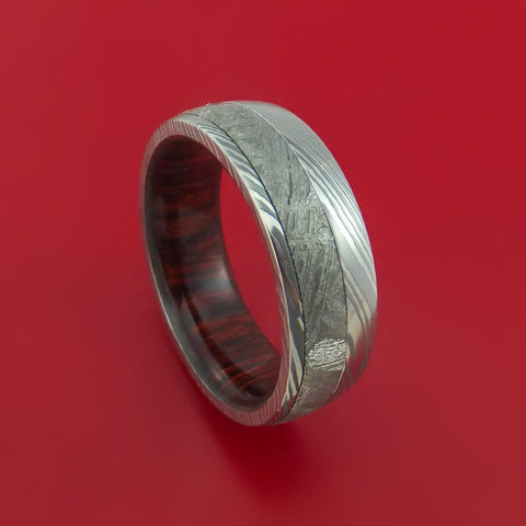 Damascus Steel Ring with Gibeon Meteorite and Rose Wood Hardwood Sleeve Custom Made Band