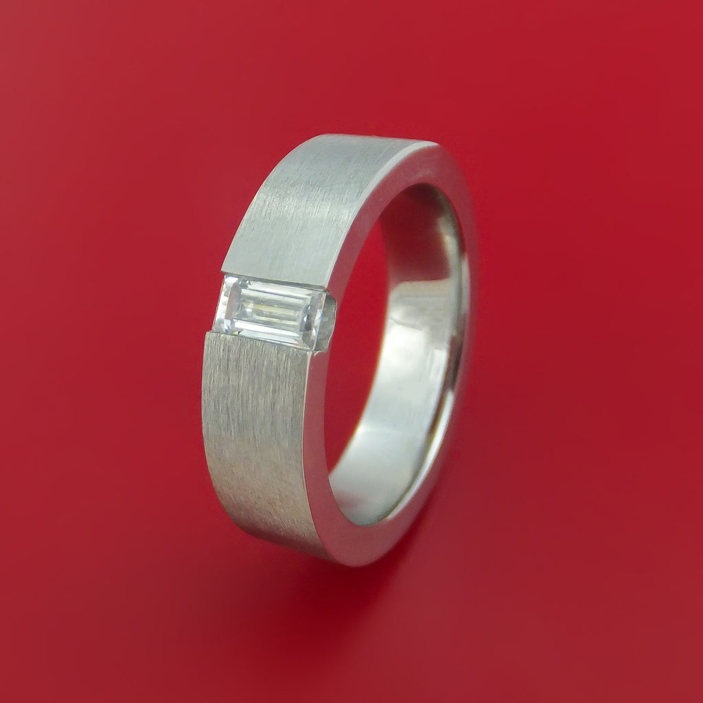 Cobalt Chrome and Cubic Zirconia Ring Custom Made Band