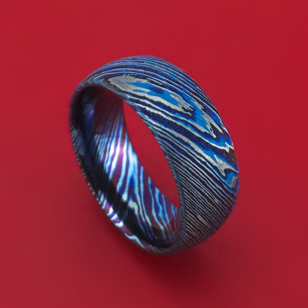 Kuro-Ti Twisted Titanium Etched and Heat-Treated Ring Custom Made Band