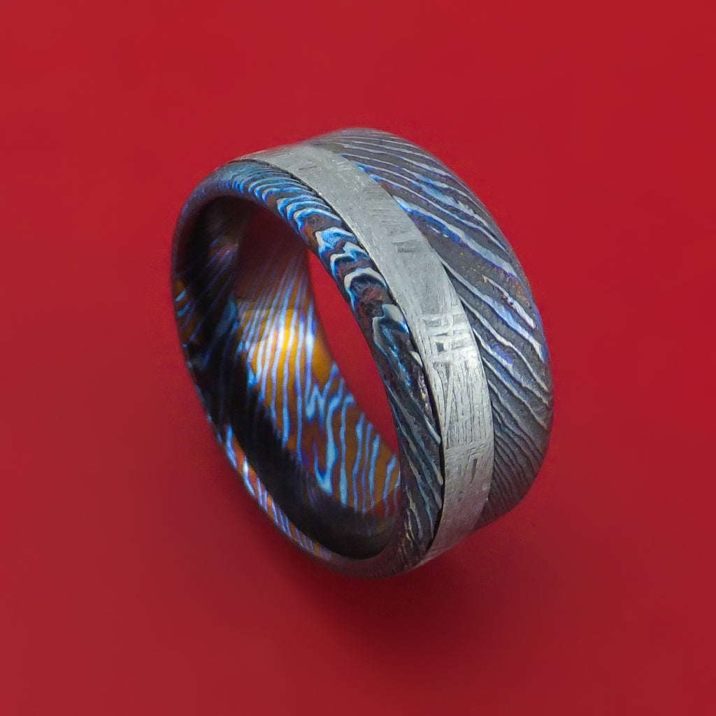 Kuro-Ti Twisted Titanium Etched and Heat-Treated Ring with Meteorite Inlay Custom Made Band