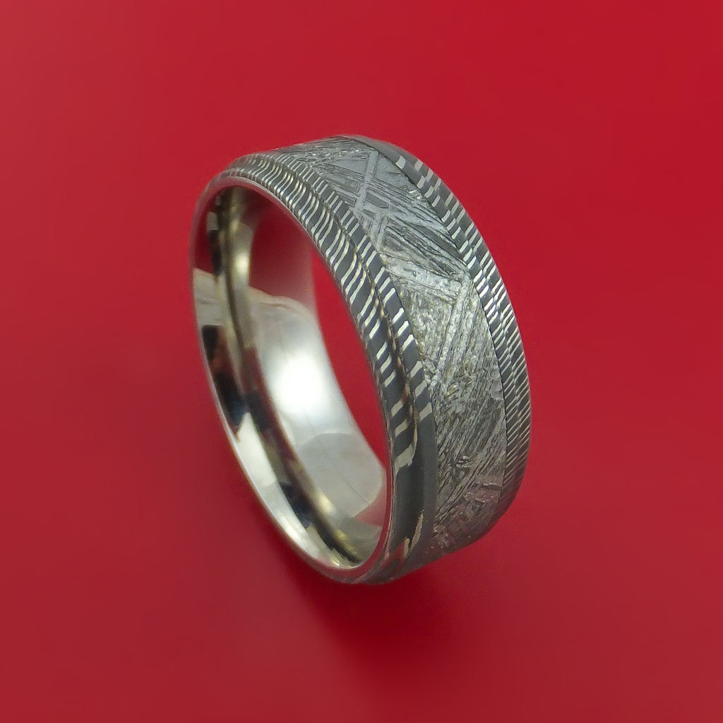 Damascus Steel Ring with Gibeon Meteorite Inlay and Interior Titanium Sleeve Custom Made Band