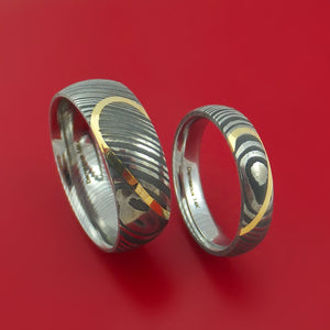 Matching Damascus Steel Heart Carved Ring Set with 14K Yellow Gold Inlays Wedding Bands Genuine Craftsmanship