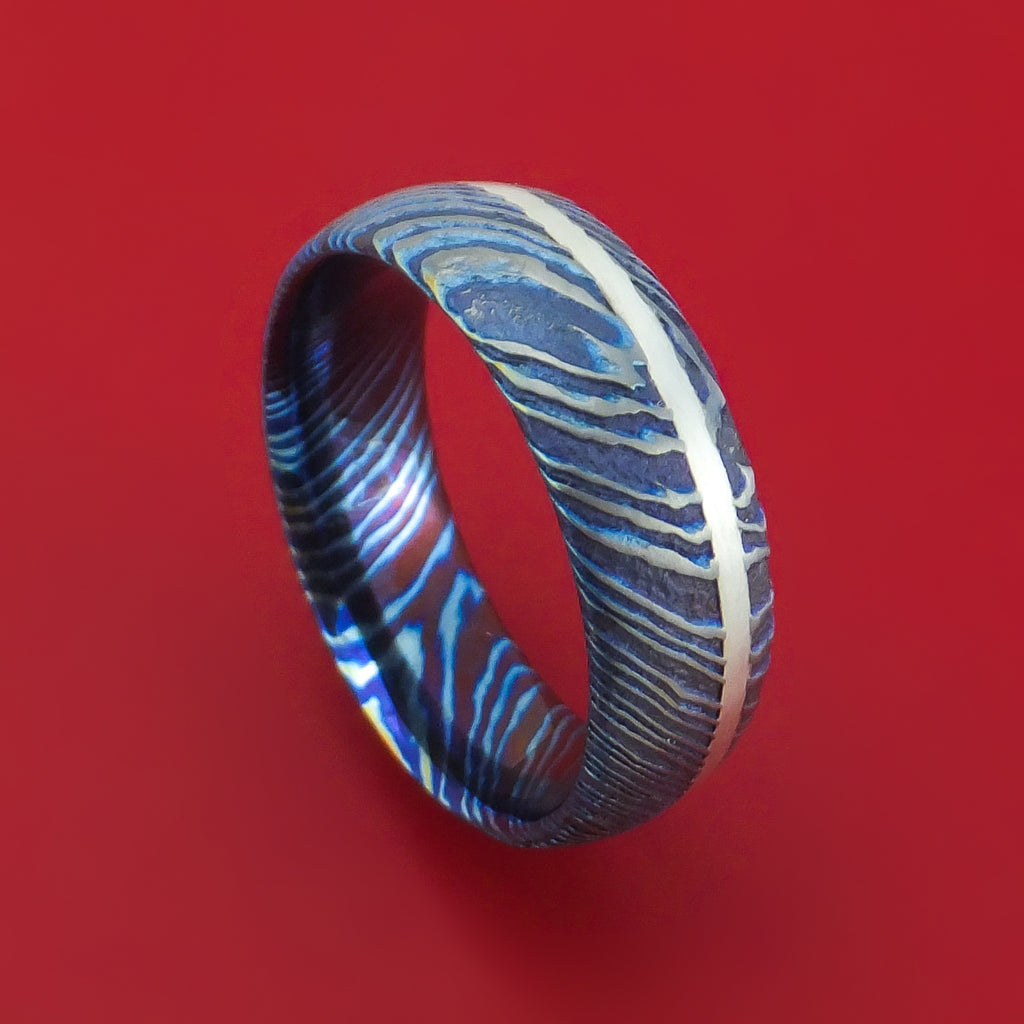 Kuro-Ti Twisted Titanium Etched and Heat-Treated Ring with Silver Inlay Custom Made Band
