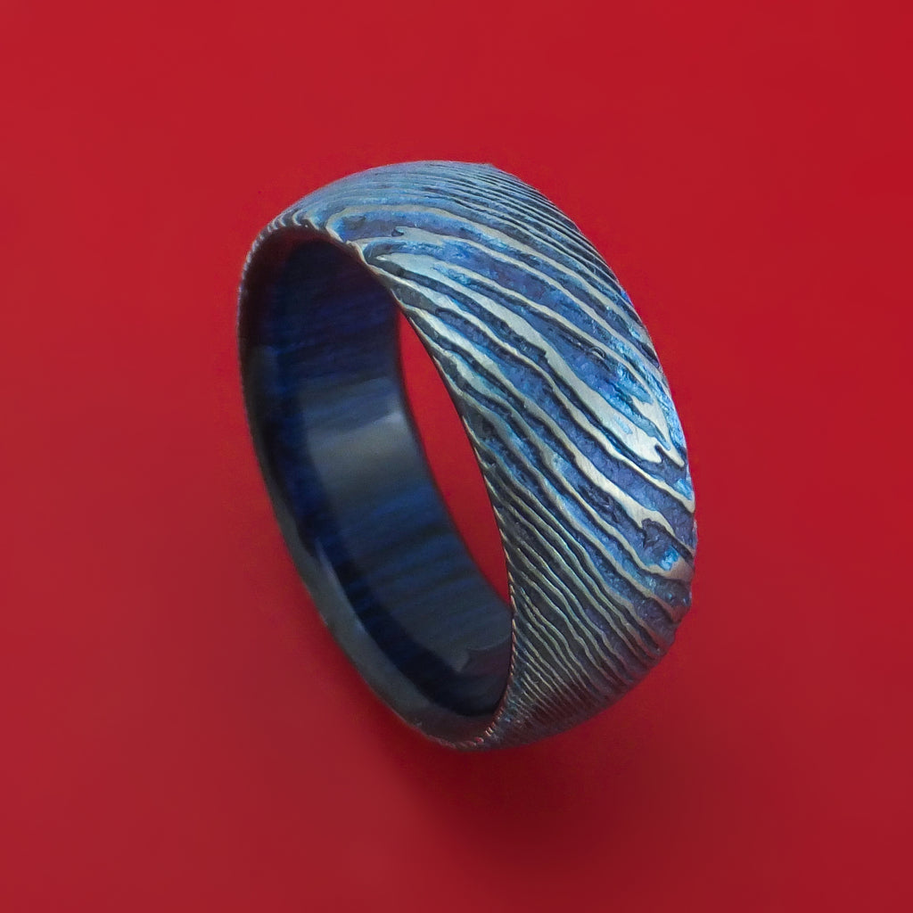 Kuro-Ti Twisted Titanium Etched and Heat-Treated Ring with Hardwood Sleeve Custom Made Band