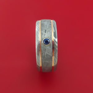 Damascus Steel Ring with Gibeon Meteorite and 14k Rose Gold Inlays and Sapphire Custom Made Band