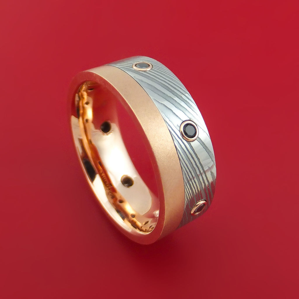 Damascus Steel and 10K Rose Gold Band with Black Diamonds Custom Made Ring