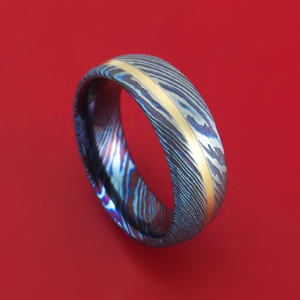 Kuro-Ti Twisted Titanium Etched and Heat-Treated Ring with Angled 14K Gold Inlay Custom Made Band