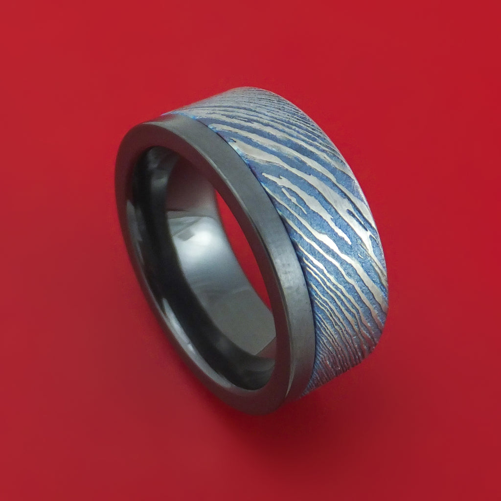 Black Zirconium and Kuro-Ti Twisted Titanium Etched and Heat-Treated Ring Custom Made Band