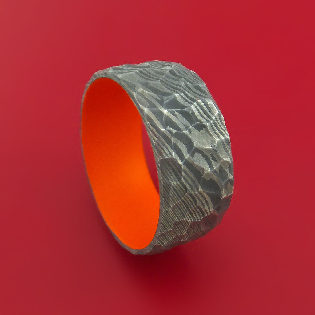 Rock Hammer Damascus Steel Wide Band with Hunter Orange Cerakote Sleeve Custom Made Band
